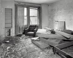 """AFTER: A circa 1980s look at the Tuller Hotel. """"Business slumped in the 1970's and by 1976 the Tuller was a shabby haunt for prostitutes, panhandlers, and female impersonators. Citing rising operating cost and lack of profits the owners closed the Tuller in that year. The Tuller was finally pulled down by the City in 1992 as it was considered 'beyond saving'. The lot is a currently an unpaved parking lot."""" http://www.forgottendetroit.com/tuller/index.html"""