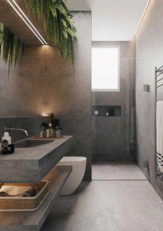 Modern Bathroom Design, Bathroom Interior Design, Modern Design, Modern Interior Decorating, Modern Home Interior, Modern Luxury Bathroom, Contemporary Bathroom Lighting, Bohemian Decorating, Washroom Design