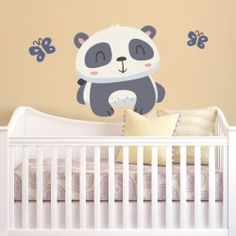 Lovely Panda with butterflies wall decal sticker in different sizes