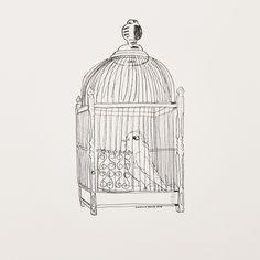 An ink sketch of a vintage bird cage Creative, Digital Scrapbooking, Vintage Birds, Illustration Art, Art, Ink, Vintage Bird Cage, Vintage, Ink Sketch