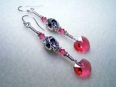 Skull Jewelry  Skull Earrings  Heart Earrings with by BikerBlingCa, $25.00