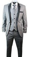Mens 3 Piece Light Grey Suit Charcoal Trim Slim Fit Wedding Party Prom