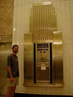Art Deco mailbox, modeling the bulding itself, within 135 South LaSalle, Chicago, IL