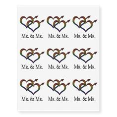 Mr. and Mr. Gay Pride Temporary Tattoos best personalized custom printed wedding temporary tattoos.  Use for bachelorette parties or wedding favors.  A fun way to personalize your wedding.