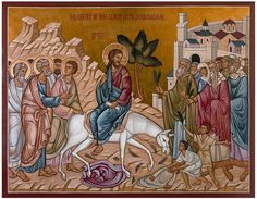 """""""Blessed is he that cometh in the Name of the Lord!"""" Today, with our celebration of Palm Sunday, we enter into Holy Week. This week, beyond all other, is a time of revelatio… Jesus Enters Jerusalem, Triumphal Entry, Byzantine Icons, Palm Sunday, Orthodox Christianity, Holy Week, Orthodox Icons, Religious Art, Lent"""