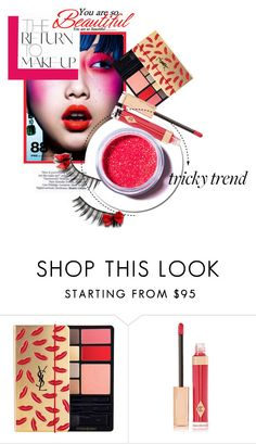 """Red Eye Makeup"" by kari-c ❤ liked on Polyvore featuring beauty, Charlotte Tilbury, Lime Crime, Beauty and redeye"