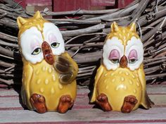 Set of 2 Retro Tired Owl Couple Salt Pepper Shakers Japan Ceramic Glass - Silly Stressed Owls EFA PIF