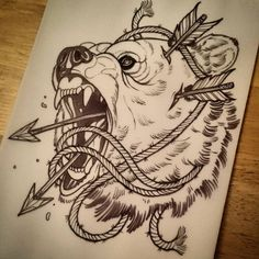bear arrows tattoo Traditional Bear Tattoo, Traditional Tattoo Sketches, Lion Tattoo, Doodle Tattoo, Bear Tattoos, Tattoo Drawings, Arrow Tattoos, Side Tattoos, Tattoos For Guys