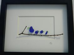 Blue Sea Glass Birds in 11 x 9 Shadow Box by RockyCoastDesigns