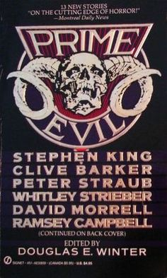 "This stunning collection of novellas and short stories by masters of the macabre brings to fans and newcomers an unrelenting spell of horror and suspense. These are tales that strike beyond sheer terror, as their disturbing visions capture the dark reality we all fear. Features works by Stephen King, Clive Barker, Peter Straub, and more. ""Gets the adrenaline flowing""."