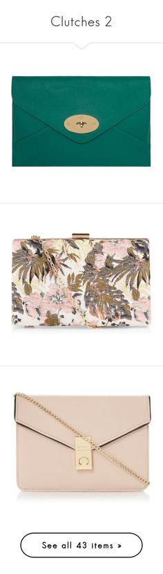 """""""Clutches 2"""" by rosky ❤ liked on Polyvore featuring bags, handbags, clutches, purses, bolsas, handbags clutches, gold handbags, gold purse, mulberry handbags and hand bags"""