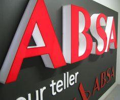 Signage manufactured for ABSA. #brand #fabricated #letters #red #white #signage #signageproductionstudio