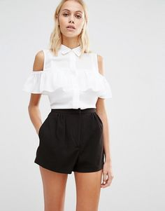 Fashion Union | Fashion Union Sleeveless Shirt With Ruffle Cold Shoulder