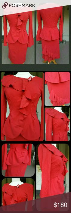 Yoana Baraschi 2pc Suit Set Ruffled Jacket Skirt Nwt  Brand is YOANA BARASCHI  Msrp $424 SZ 6 Vtg retro Inspired 2 pc jacket skirt set  VAVA VOOM is a retro statement no?!? Describes this hot  (pink/red) #! This color doesn't translate so well in pics. is a bright pinkish reddish color, IMO a bright dark pink w/red undertones, but since color is subjective, u might think otherwise  Ruffled Jacket,& slim skirt w/what might be a bustle at hem on back?!  Idk PLS SEE pics my terminology not so…