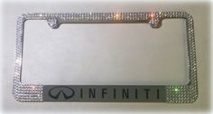 "Infiniti Chrome License Plate Frame made with Swarovski Crystals - Infiniti Car Jewelry. Handmade Swarovski Crystal Infiniti License Plate Frame made with Genuine Swarovski Crystals (size 20ss/5 mm) Item is not made by the Swarovski Company USPS Priority Mail with tracking within the continental US High quality chrome license plate frame - Standard Size 12.25"" x 6.3"" We do not use or mix in any other rhinestones of lesser quality like other sellers, who claim their product is genuine…"
