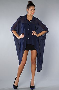 sheer shirt in midnight blue
