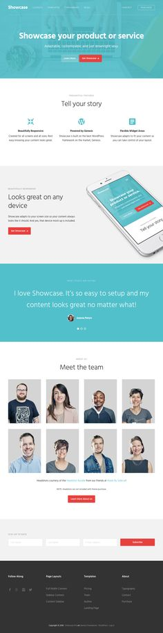 Showcase Pro is a specially designed responsive WordPress product or service theme from StudioPress developer club. Showcase Pro WordPress Theme is a Landing Page Design, Meet The Team, Wordpress Theme, Design Elements, Told You So, Elements Of Design