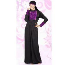 Elegant Black And Dark Purple Lycra Abaya