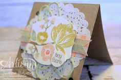 Jeanna's card: Hey There Buds, Gold Soiree dsp, Tea Lace Doily, & more. love the layout! All supplies from Stampin' Up!