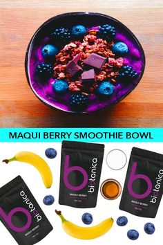 Ingredients  3 frozen bananas 3 tbsp Biotanica Maqui Berry Powder 1 cup of unsweetened plant based milk 200g frozen blueberries  1-2 tbsp maple syrup, optional Handful of fresh blueberries, raspberries, figs and granola for garnish