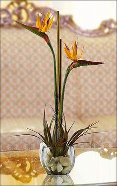 "19"" Bird Of Paradise Silk Flower Arrangement -Orange"