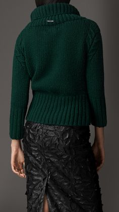 Funnel Neck Wool Cashmere Sweater