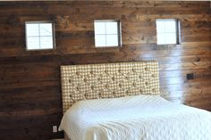 Wood panel wall - no idea how to do this but it looks cool - it's a knotty alder wood with a mahogany stain