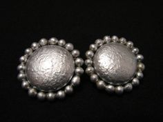 Vintage Round Silver Faux Pearl Beaded Clip Earrings by ditbge, $6.99