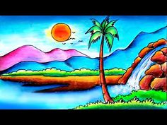 Easy Scenery || Scenery drawing - YouTube Beautiful Scenery Drawing, Easy Scenery Drawing, Drawing Sunset, Oil Pastel Colours, Oil Pastel Art, Oil Pastel Drawings, Pastels, Nature Drawing For Kids, Art Drawings For Kids