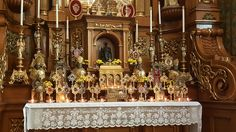 St. John Cantius Chicago - Display of Relics on a Side Altar for All Saints Day  http://acatholiclife.blogspot.com/2015/01/top-five-5-traditional-catholic.html