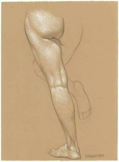 Sarah's Left Leg pencil and white Prismacolor pencil on Rives BFK Tan Heavyweight Printmaking Paper by danielmaidman Anatomy Sketches, Anatomy Drawing, Anatomy Art, Drawing Sketches, Art Drawings, Body Drawing, Life Drawing, Anatomy For Artists, Drawing Studies