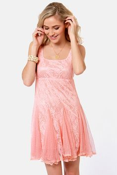 Chills and Frills Peach Lace Dress  http://www.lulus.com/products/chills-and-frills-peach-lace-dress/81354.html
