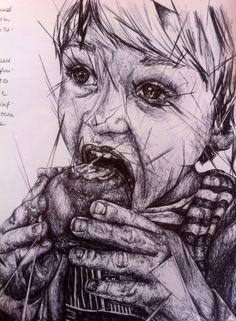 Portrait of Child, using biro pen