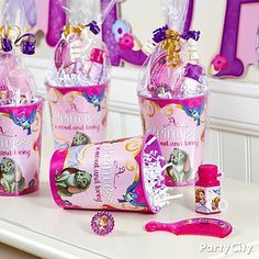 Sofia the First party cups make wonderful favor containers for the little princesses to enjoy at home!