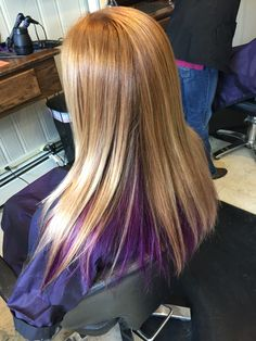 Blonde hair with purple color underneath