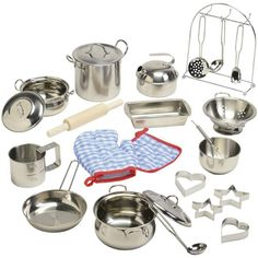 Play Kitchen Accessories Pots And Pans Kids Stainless Steel Cookware Pretend NEW Product Description: Just like grown-ups, kids want the best cookware in their pretend kitchens. This stainless steel s Ikea Play Kitchen, Pretend Play Kitchen, Play Kitchen Sets, Toy Kitchen, Kitchen Tools, Play Kitchens, Cheap Kitchen, Kitchen Art, Kitchen Gadgets