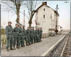 Fallschirmjäger (Paratroopers) of the St.Nazaire garrison await the arrival of…