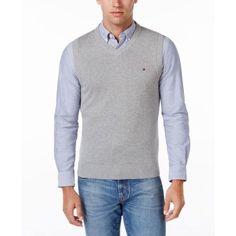 Tommy Hilfiger Mens Signature Solid V-Neck Pima Sweater Vest Griffin Large  #sweater #vest #griffin #large #pima #neck #hilfiger #mens #signature #solid #tommy