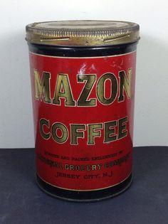 Antique Mazon Coffee Tin Jersey City NJ General Store Advertising #coffee #antique #vintage #tin #mazon #newjersey #NJ #generalstore