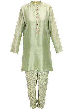 Pale green chantility lace kurta set by Payal Singhal. Shop now: http://www.perniaspopupshop.com/designers/payal-singhal #kurta #payalsinghal #shopnow #perniaspopupshop