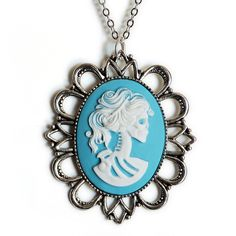 Lolita Cameo Necklace Blue