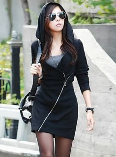 Black Oblique Zipper Long Hoodie...wow a hoodie I would actually wear.