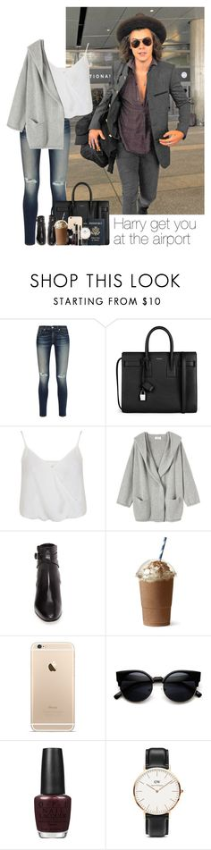 """""""Harry get you  at the airport"""" by girl-holiday ❤ liked on Polyvore featuring rag & bone, Yves Saint Laurent, Miss Selfridge, Toast, ZeroUV, OPI and Daniel Wellington"""