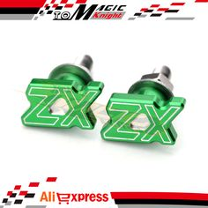 Motorcycle License Plate Frame Screws Fender Bolts ZX LOGO Green Universal Pair