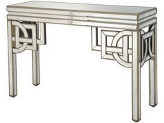 This mirrored console table is classic art deco with its angular detailing and luxurious gold etched sides #artdeco #homedecor