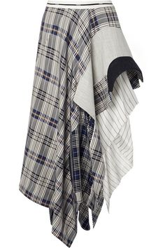 Monse - Asymmetric Paneled Checked Crepe De Chine, Canvas And Felt Midi Skirt - Cream Draped Dress, Dress Skirt, Midi Skirt, Knit Dress, Lace Dress, Mode Outfits, Girly Outfits, Crepe Skirts, Wide Leg Denim