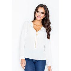 29747170d6 Spoločenské dámske blúzky so zipsom bielej farby - fashionday.eu Kliny