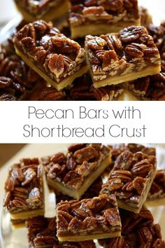 Easy Pecan Bars recipe with a shortbread crust. Easy Pecan Bars recipe with a shortbread crust.,recipes Easy Pecan Bars recipe with shortbread crust. A wonderful Thanksgiving dessert idea that's way easier than pecan pie! Pecan Desserts, Desserts Nutella, Cookie Desserts, Easy Desserts, Delicious Desserts, Fall Dessert Recipes, Thanksgiving Desserts Easy, Delicious Dishes, Smores Dessert