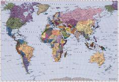 Map Monde Relief - panoramique Komar