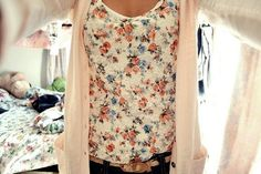 Floral blouse and blush cardigan.